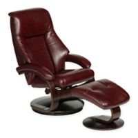 Oslo Faux Leather Swivel Recliner and Ottoman Set in Burgundy