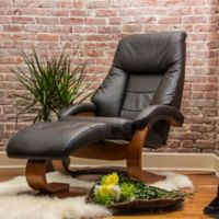 Oslo Faux Leather Swivel Recliner and Ottoman Set in Espresso