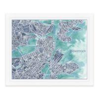 Boston Map Watercolor Wall Art in Blue