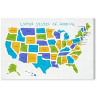 Olivia's Easel 36-Inch x 24-Inch USA Map Canvas Wall Art