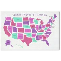 Olivia's Easel United States of America Map 15-Inch x 10-Inch Canvas Wall Art