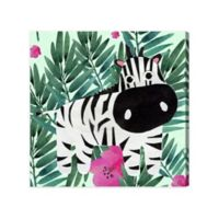 Olivia's Easel Zebra 16-Inch x 16-Inch Canvas Wall Art