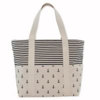 CB Station 14-Inch Carryall Tote with Navy Anchors and Stripes