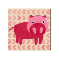 Olivia's Easel 16-Inch x 16-Inch Pink Piggy Canvas Wall Art
