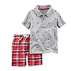 carter's® Size 9M 2-Piece Sailboat Shirt and Short Set in Grey
