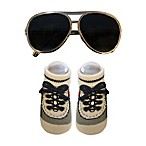 So'Dorable Aviator Sunglasses and Booties Set in Silver/Grey
