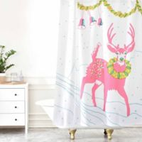 Deny Designs Betsy Olmsted Holiday Deer Shower Curtain in Pink