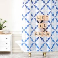 "Deny Designs Happee Monkee ""Let It Snow"" Shower Curtain in Blue"