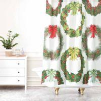 Deny Designs Sabine Reinhart Christmas Wreaths Shower Curtain in Green