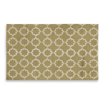 3 Foot X 5 Medallion Bathroom Rug In Yellow Gold