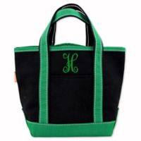CB Station Handy Colored Open Top Tote in Black/Emerald