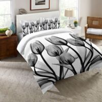 Laural Home® Tulips Twin Comforter in Black/White