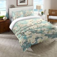 Laural Home® Dogwood Blossoms Twin Comforter in Blue