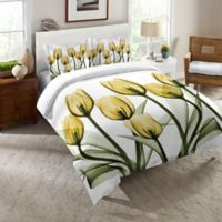 Laural Home® Golden Tulips Twin Comforter in Yellow/White