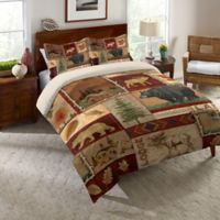 Laural Home® Lodge Collage Twin Comforter in Brown