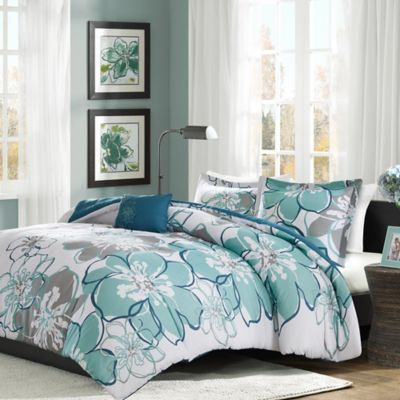 Nice Mi Zone Allison Reversible 3 Piece Twin/Twin XL Duvet Cover Set In Blue