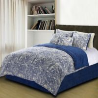Valentina Flowers and Doodles Twin Duvet Cover Set in Blue