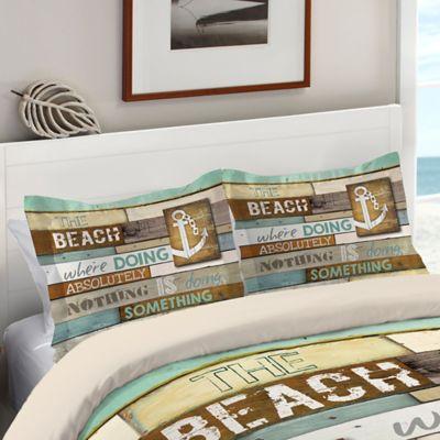 Wonderful Laural Home® Beach Mantra Standard Pillow Sham In Blue