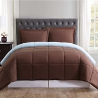 Truly Soft Everyday Reversible King Comforter Set in Chocolate/Light Blue