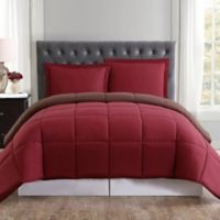 Truly Soft Everyday Reversible Twin/Twin XL Comforter Set in Burgundy/Brown