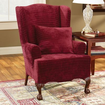 Sure Fit® Stretch Royal Diamond Wing Chair Slipcover In Wine
