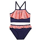 Pink Platinum Size 12M 2-Piece Crochet Overlay Swimsuit in Navy/Pink