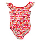 carter's® Size 12M 1-Piece Ruffle Hearts Swimsuit in White