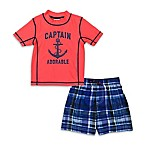 carter's® Size 6-9M Captain Adorable 1-Piece Rashguard Set in Red