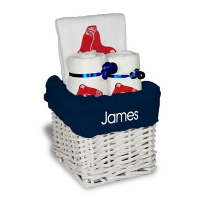 designs by chad and jake mlb personalized boston red sox 4 piece baby gift basket - Boston Red Sox Bath Accessories