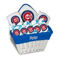 Designs by Chad and Jake MLB Personalized Chicago Cubs 8-Piece Baby Gift Basket