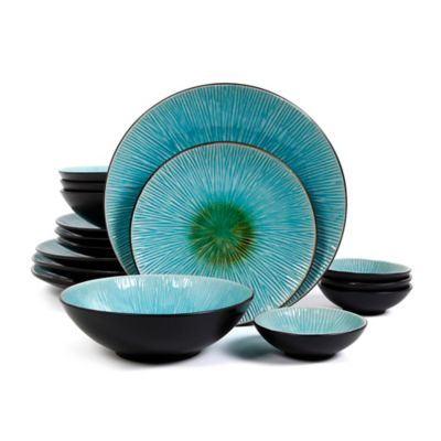 Gibson Elite Shangri-la Court 16-Piece Dinnerware Set  sc 1 st  Bed Bath \u0026 Beyond : blue and green dinnerware - pezcame.com