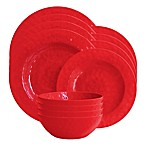 American Atelier 12-Piece Melamine Dinnerware Set in Red