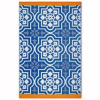 Fab Habitat World Collection 6-Foot x 9-Foot Indoor/Outdoor Puebla Rug in Blue