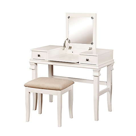 Linon home angela 2 piece vanity set bed bath beyond - Bed bath and beyond bathroom vanity ...
