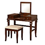 Linon Home Angela 2-Piece Vanity Set in Walnut