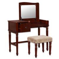 Linon Home Wyndham 2-Piece Vanity Set in Walnut