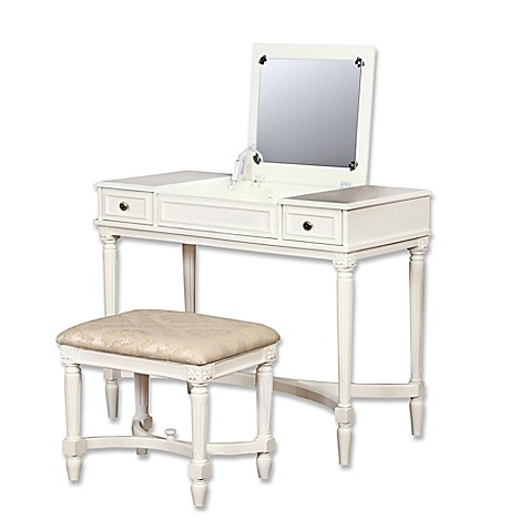Linon home cyndi 2 piece vanity set in white bed bath - Bed bath and beyond bathroom vanity ...