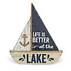 Wood  Life is Better at the Lake  Sailboat Sign