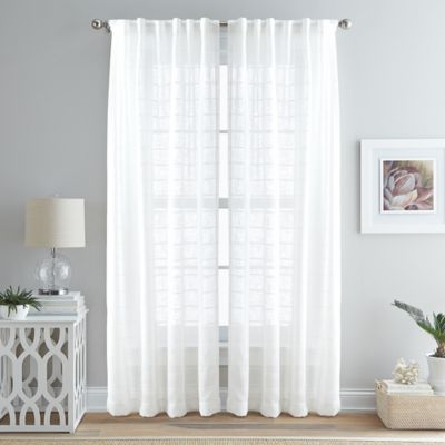 island breeze 63inch back tab window curtain panel in ivory - 63 Inch Curtains