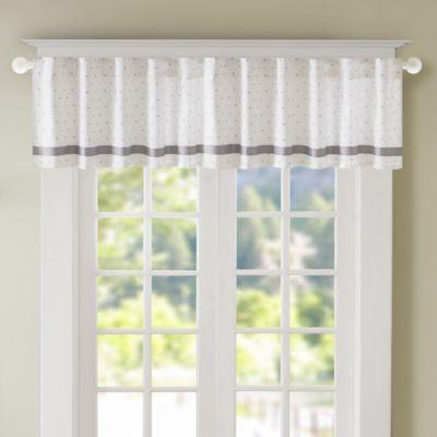 Regency Heights Lizzie Dot Lined Window Valance In Grey