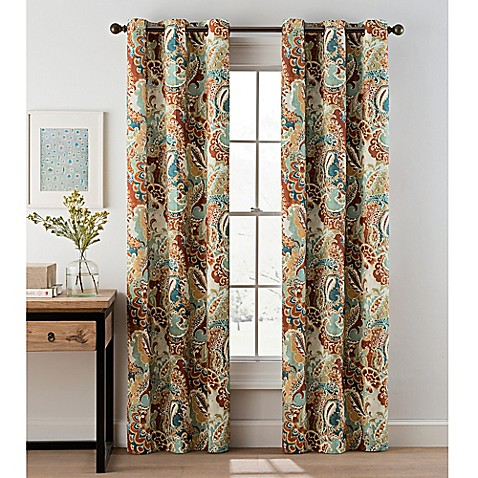 Paisley Grommet Top Window Curtain Panel Pair