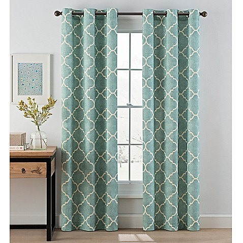 drape curtains for living room. image of Lattice Grommet Top Window Curtain Panel Pair Curtains  Drapes Rod Pocket more styles Bed