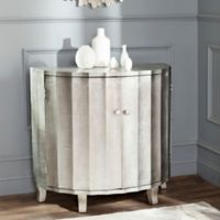 Safavieh Rutherford Demilune Cabinet in Silver Leaf