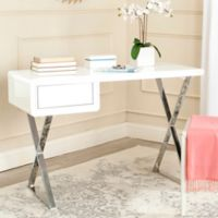 Safavieh Hanver Desk in White/Chrome