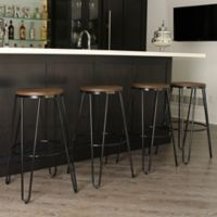 Kate and Laurel Tully Barstools in Black/Brown (Set of 4)