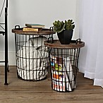 Kate and Laurel Tenby 2-Piece Accent Table Set in Black