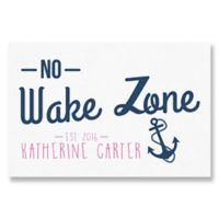 """No Wake Zone"" Canvas Wall Art in Pink"