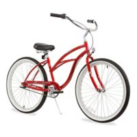 "Firmstrong Urban Lady 26"" Three Speed Beach Cruiser Bicycle in Red"