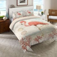 Laural Home® Coastal Flamingo Twin Comforter in Pink/Beige