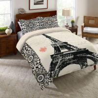 Laural Home® Eiffel Tower Border Queen Comforter in Black/Beige